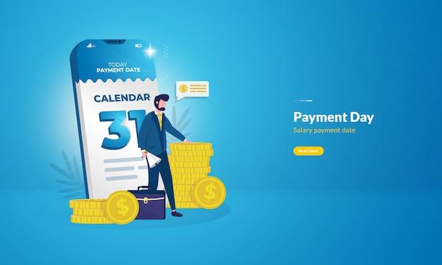 Конец месяца в календаре для концепции иллюстрации дня зарплаты