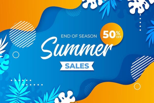 시즌 여름 판매 배너 서식의 끝