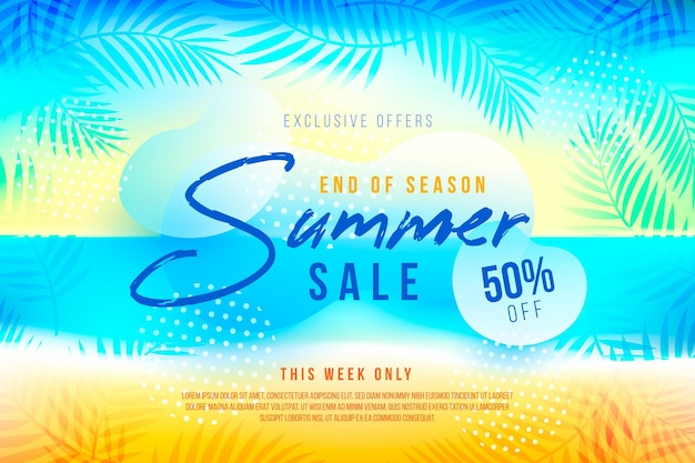 Конец сезона летняя распродажа баннер шаблон