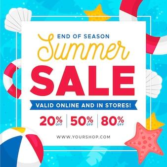 해변 요소와 시즌 여름 판매 배너의 끝