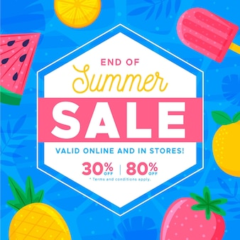 Конец сезона летняя распродажа баннер с фруктами и мороженым