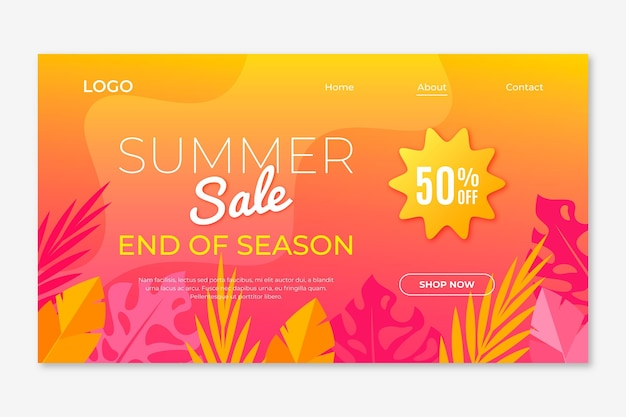 시즌 종료 여름 세일 시즌 종료 여름 세일 방문 페이지 무료 벡터