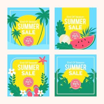 시즌 종료 여름 세일 인스 타 그램 포스트 컬렉션