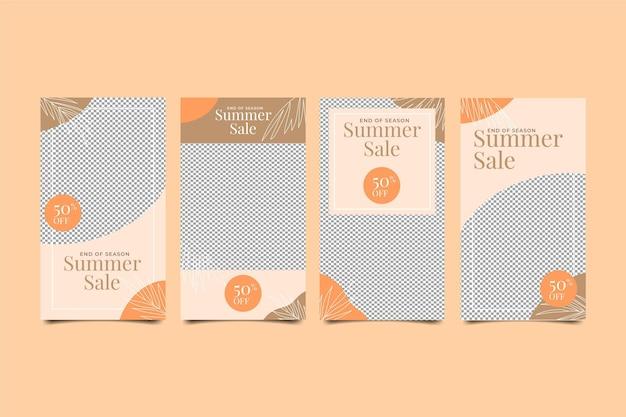 シーズンの終わりの夏のセールのinstagramストーリーコレクション