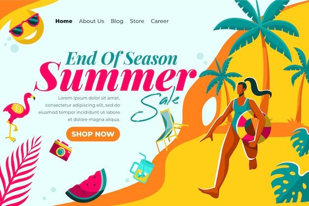 Стиль целевой страницы летней распродажи в конце сезона
