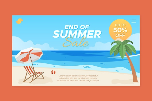 Шаблон целевой страницы летней распродажи в конце сезона