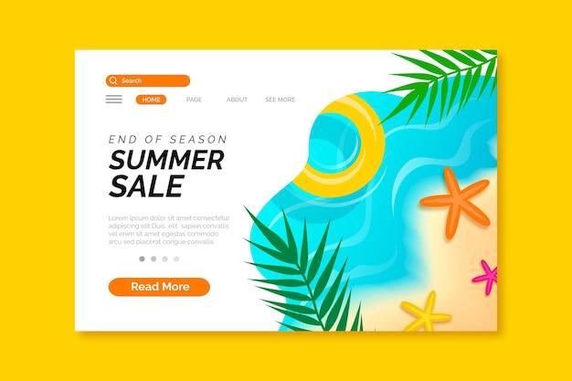 Конец сезона летней распродажи шаблона для целевой страницы Бесплатные векторы