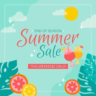 Конец сезона летняя распродажа с кусочками фруктов