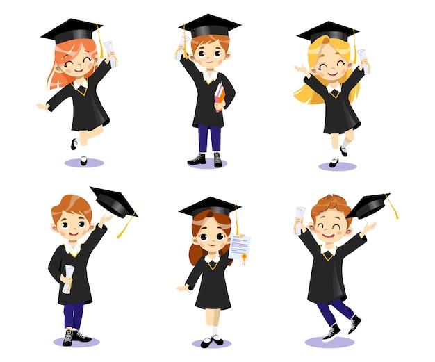 Конец университетских курсов и концепции окончания. набор счастливых улыбающихся студентов мальчиков и девочек в академических платьях, стоя вместе, бросая шляпы в воздух. мультяшный плоский стиль.