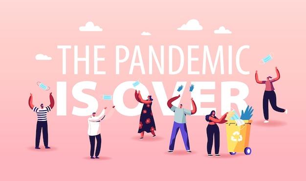 検疫終了、コロナウイルスcovid-19ロックダウンのパンデミックおよび外出禁止令の概念。