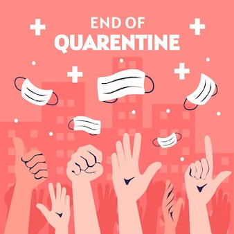End of quarantine with hands and medical masks