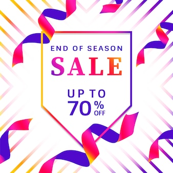End of season sale up to 70% off sign vector