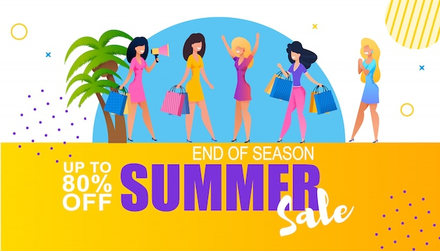 End of season sales woman shopping offer banner