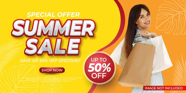 End of season special offer summer sale banner with photo