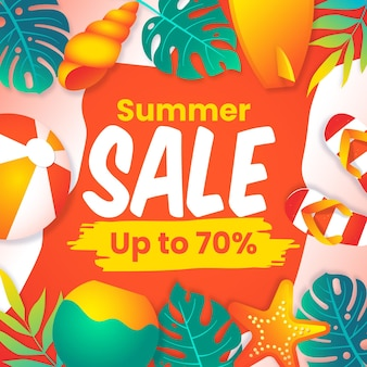 End of season summer sale banner with beach