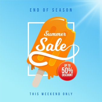 End of season summer sale banner with ice cream