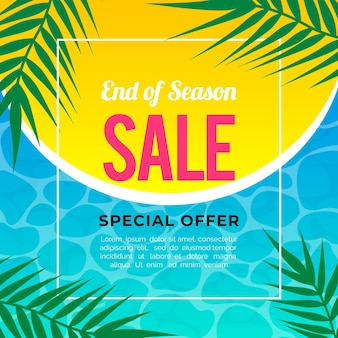 End of season summer sale banner with leaves