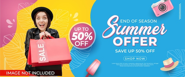 End of season summer sale banner with photo