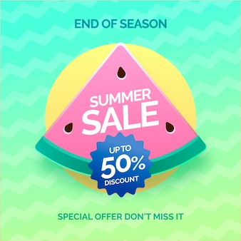 End of season summer sale banner with watermelon