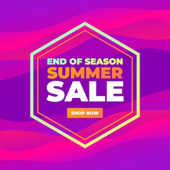 End of season summer sale colorful abstract curve banner.
