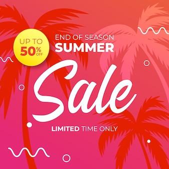 Banner di sconto vendita estate di fine stagione