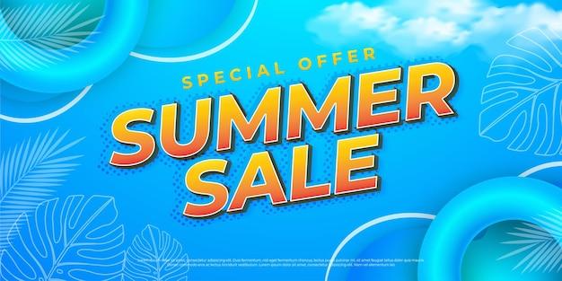 End of season summer sale editable text effect template