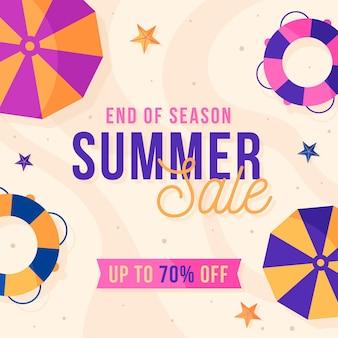 Illustrazione di vendita estiva di fine stagione con uno sconto speciale