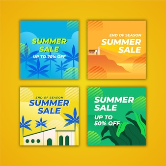 End of season summer sale instagram post collection