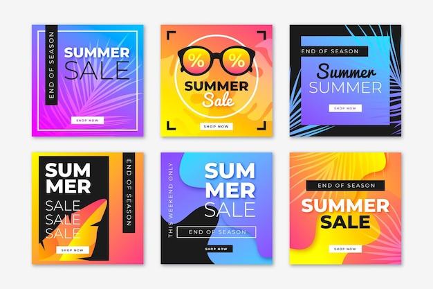 End of season summer sale instagram post set