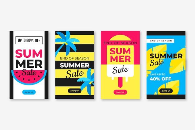 End of season summer sale instagram stories pack