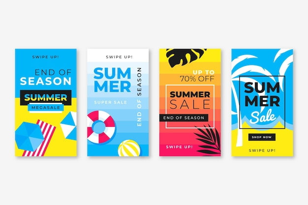 End of season summer sale instagram stories set