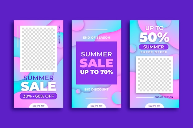 End of season summer sale instagram stories set