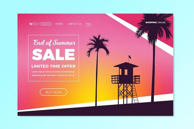 End of season summer sale landing page concept