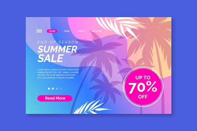 End of season summer sale landing page template