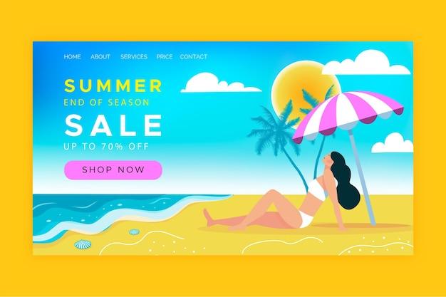 Modello di pagina di destinazione della vendita estiva di fine stagione