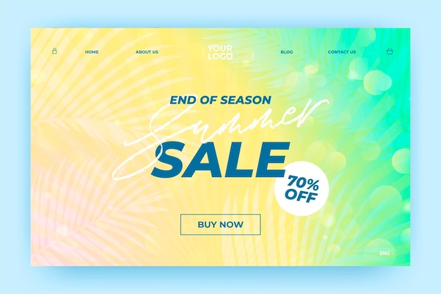 End of season summer sale landing page