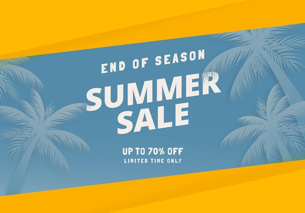 End of season summer sale offer banner concept with blue sky and palm tree