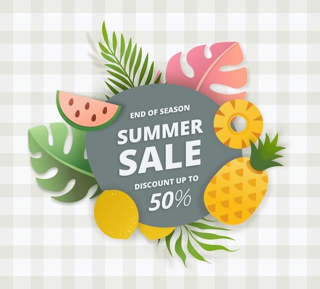 End of season summer sale offer banner fresh fruit theme