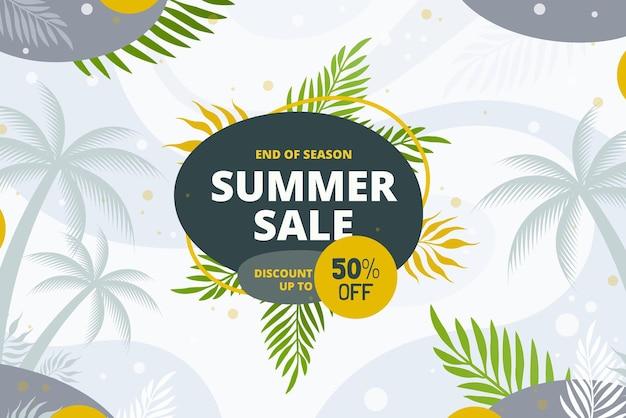 End of season summer sale offer banner yellow green