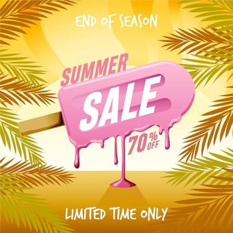 End of season summer sale squared banner with popsicle