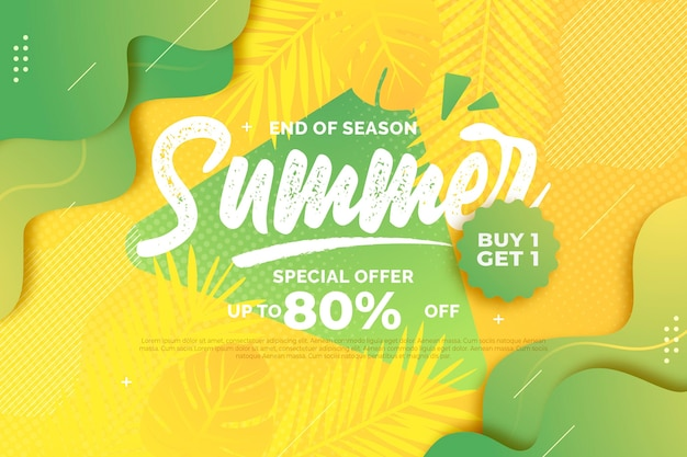 End of season summer sale theme Premium Vector