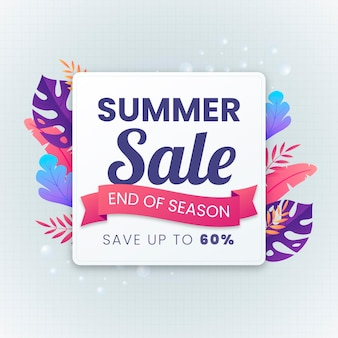 End of season summer sale tropical leaves