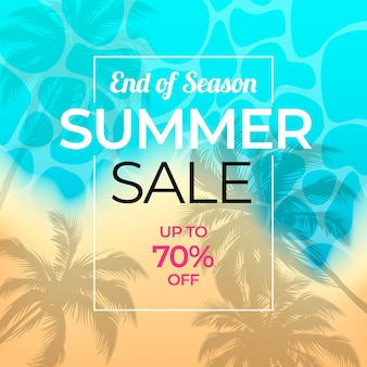 End of season summer sale with beach