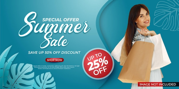 End of season template special offer summer sale banner with photo