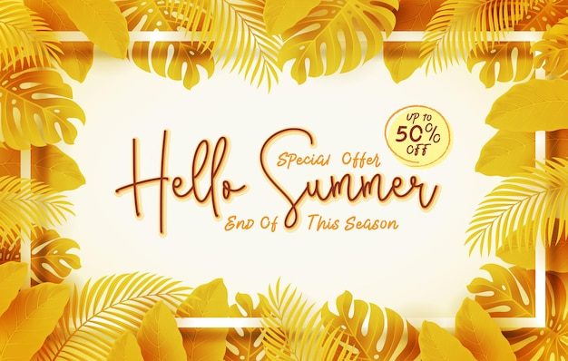 End of seasons summer sale banner with leaves