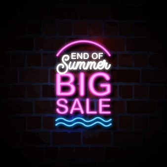 End of summer big sale neon style sign illustration