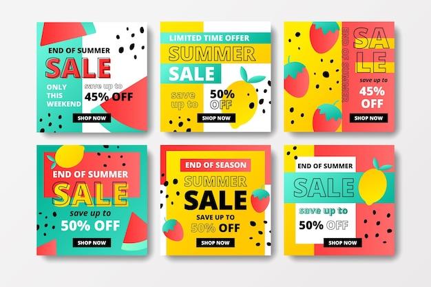 Pacchetto post di instagram di vendita di fine estate