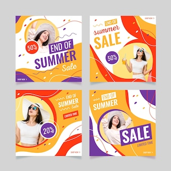 Set di post instagram di fine estate in vendita Vettore gratuito