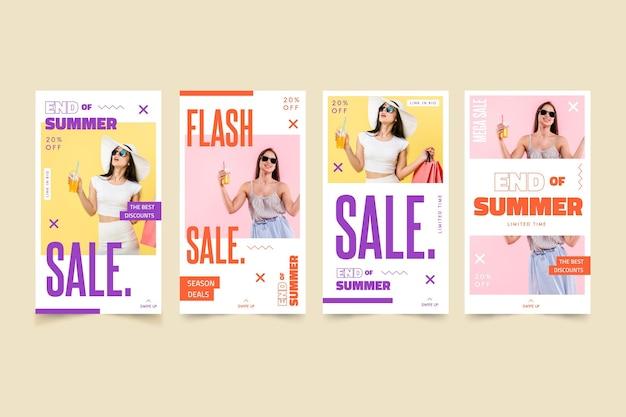 Storie instagram di vendita di fine estate