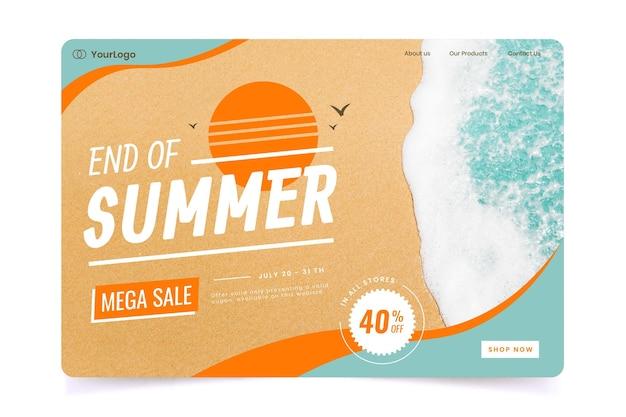 Modello di pagina di destinazione di vendita di fine estate con foto